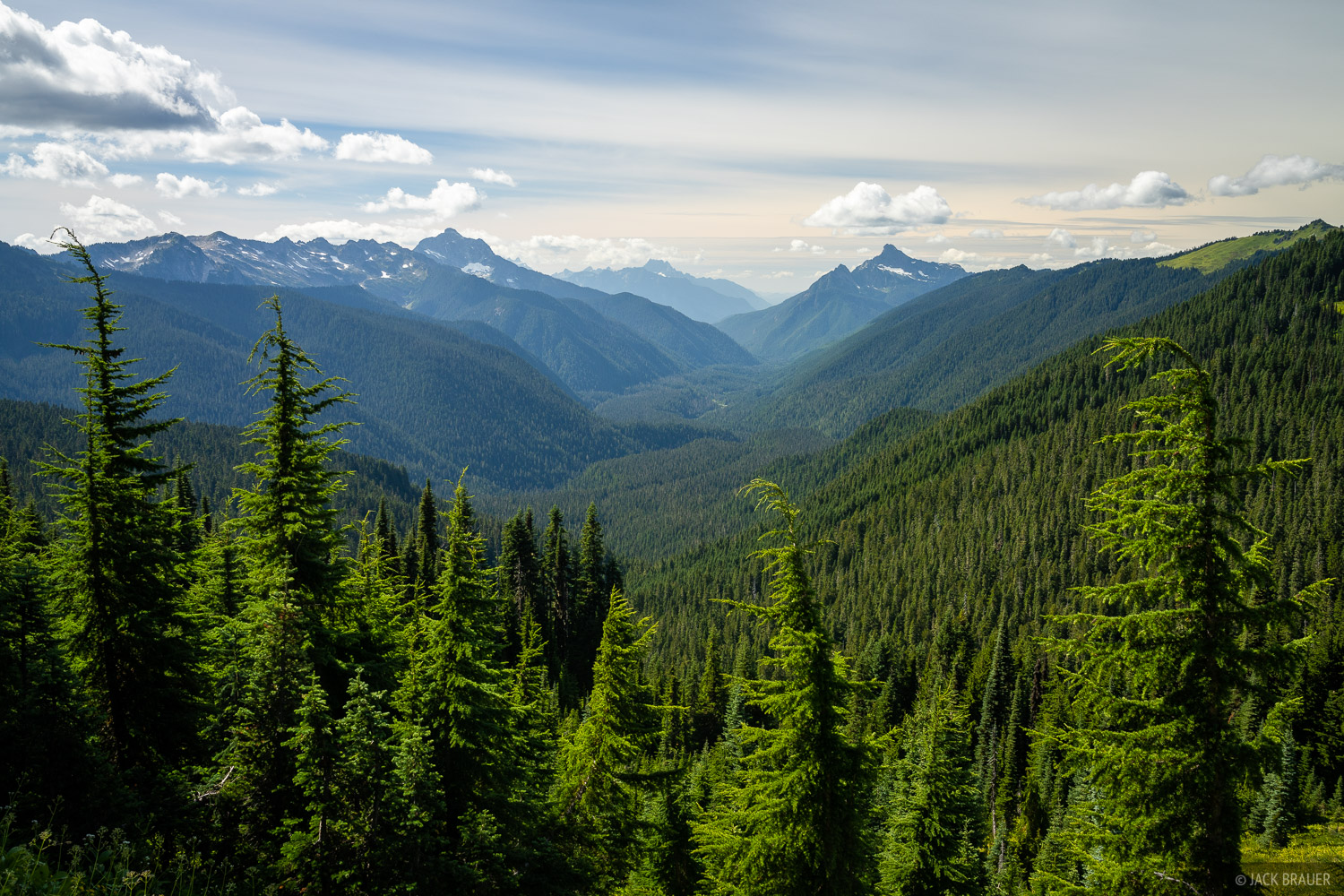 A view down the White Chuck River valley, with Mount Pugh (left) and White Chuck Mountain (right).