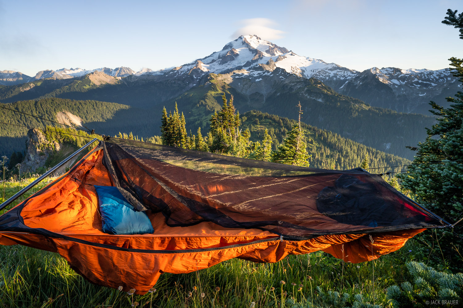 A fantastic hammock camp with a mega view of Glacier Peak.