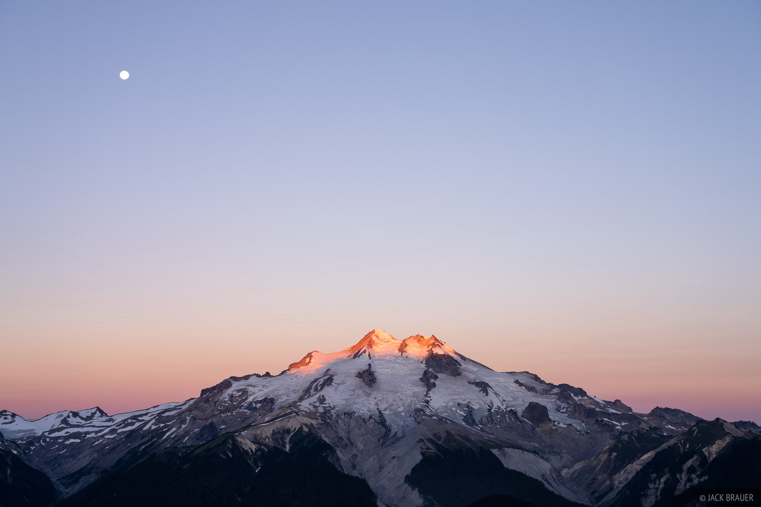 Glacier Peak, Glacier Peak Wilderness, Washington, moon, Cascades, photo