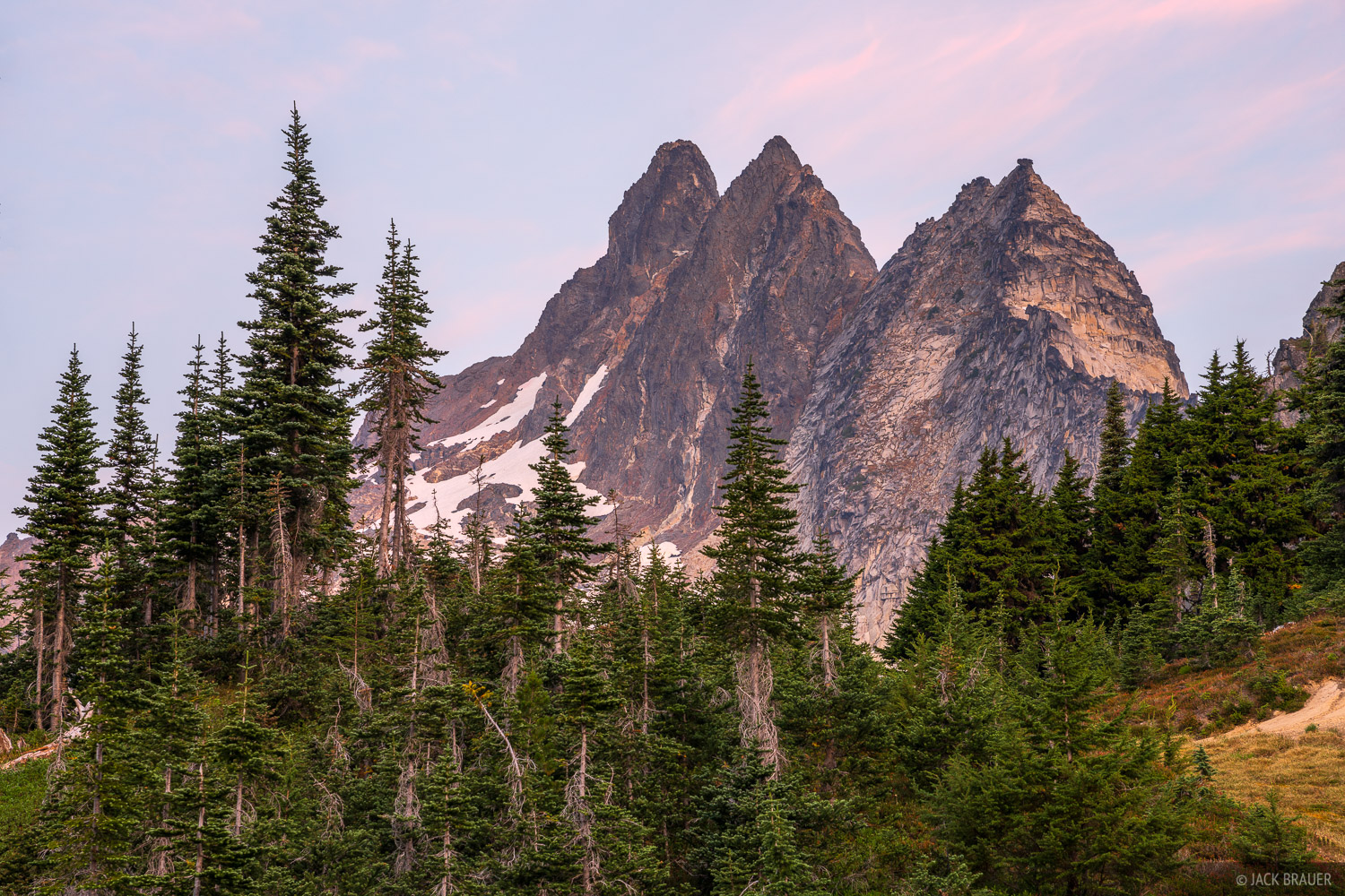 The spires of Clark Mountain above Boulder Pass.
