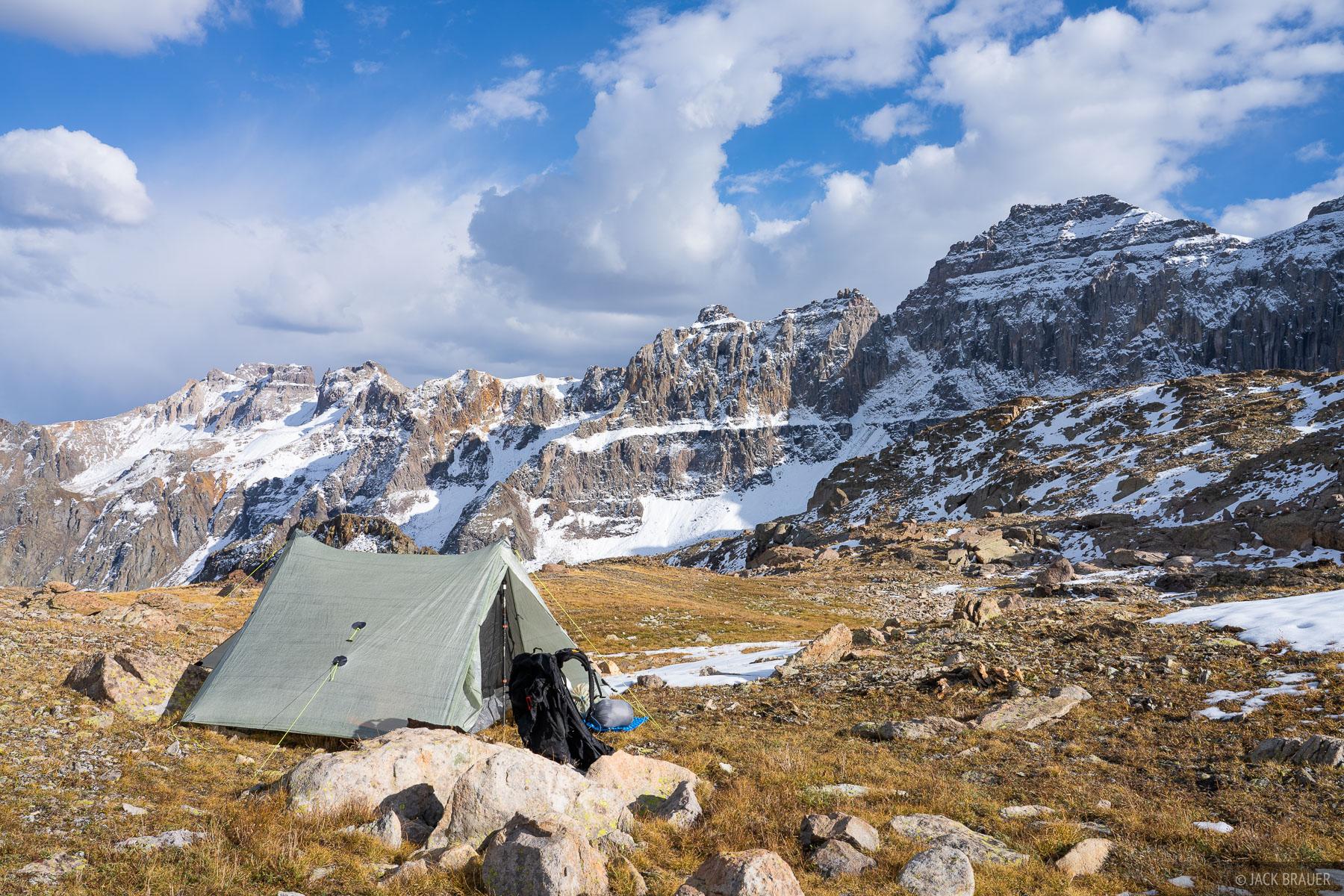 Camped in a high basin below Dallas Peak in the Sneffels Range - September.