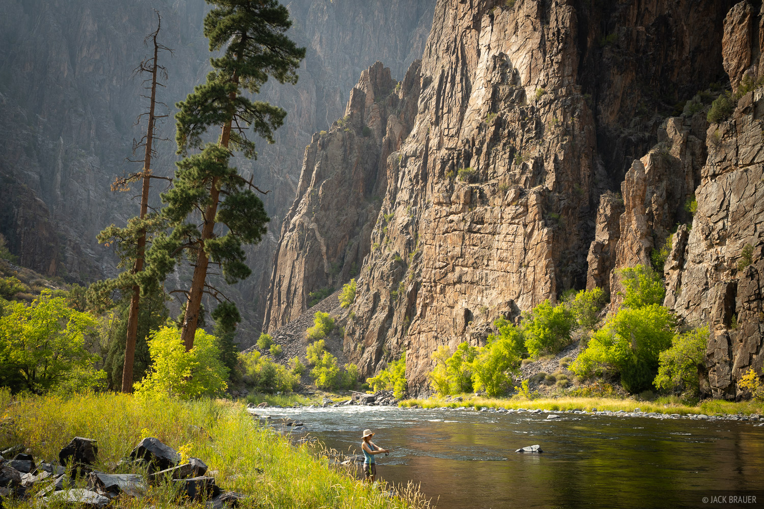 Fishing in the Gunnison River at the bottom of the Black Canyon - September.