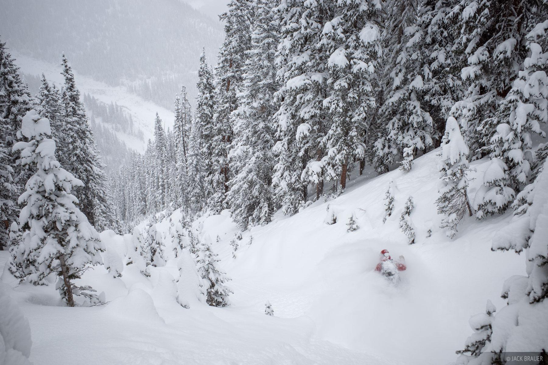 Jason Mullins floats through waist deep powder in late January.