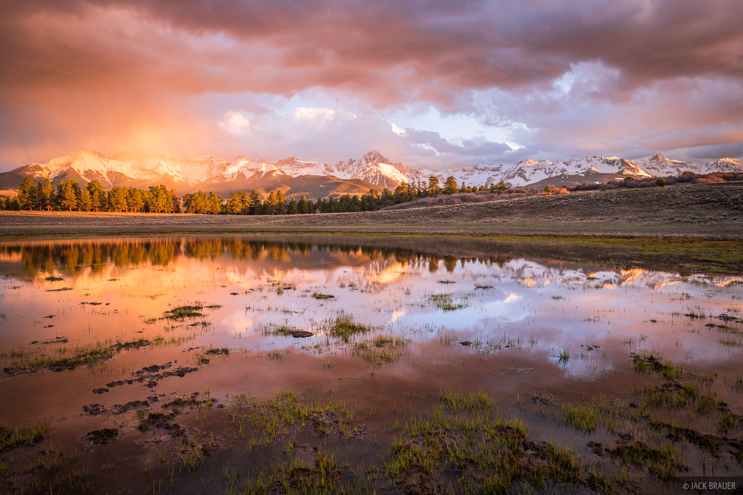 A wild May sunset over the Mount Sneffels and the Sneffels Range.