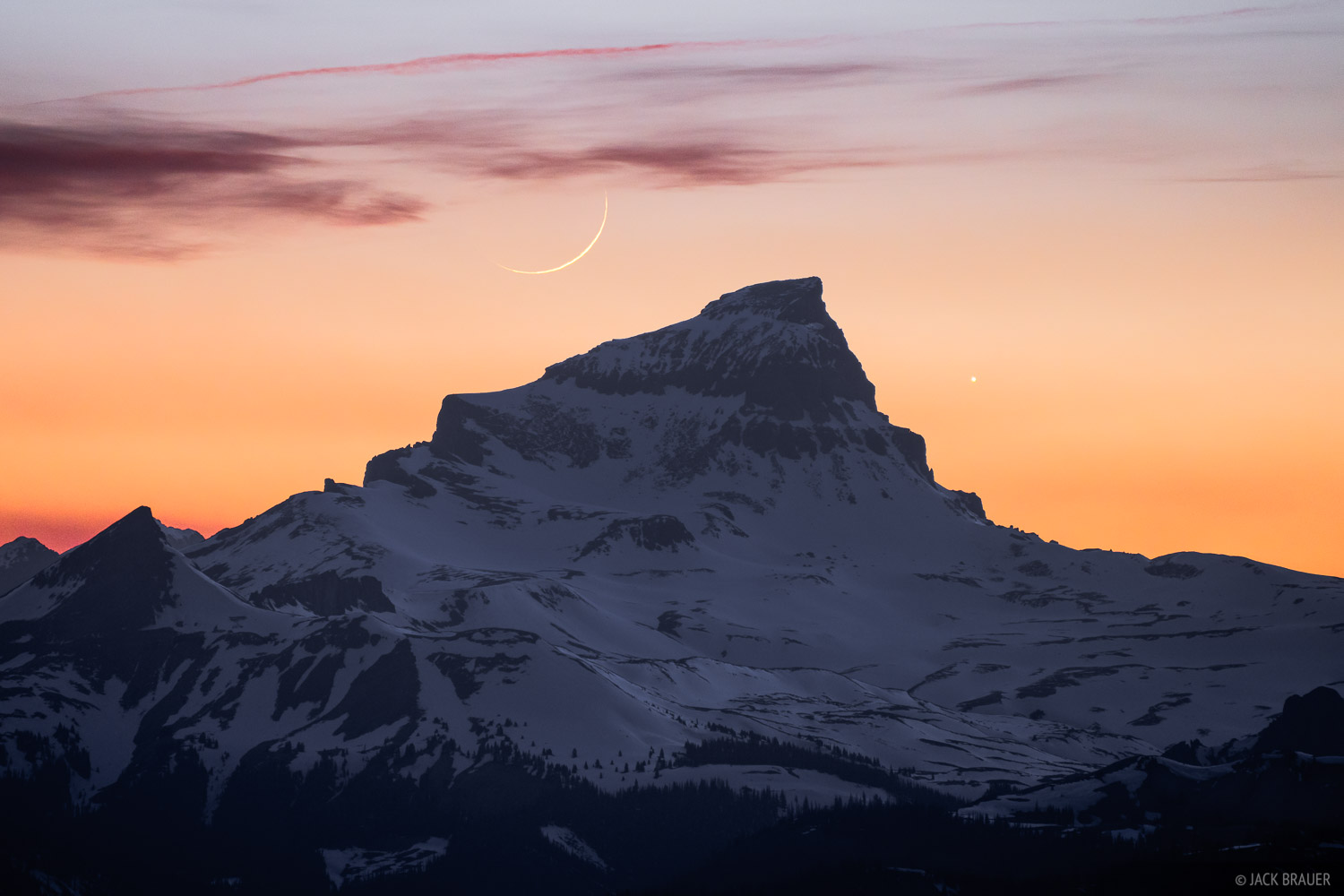 The crescent moon sets behind Uncompahgre Peak (14,309 ft.), the tallest mountain in the San Juans and the sixth highest 14er...