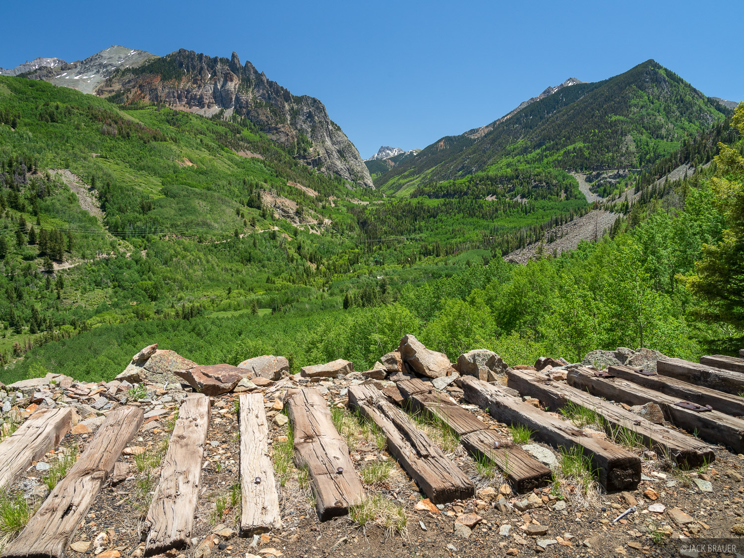 Remnants of railroad ties from the old Rio Grande Southern Railroad which ran from Ridgway to Durango with a branch to Telluride...