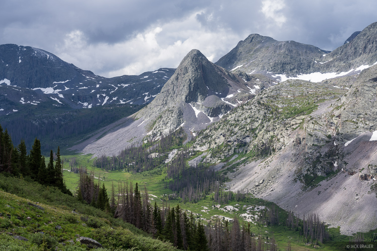 A rugged glacier-carved valley deep in the Weminuche Wilderness.