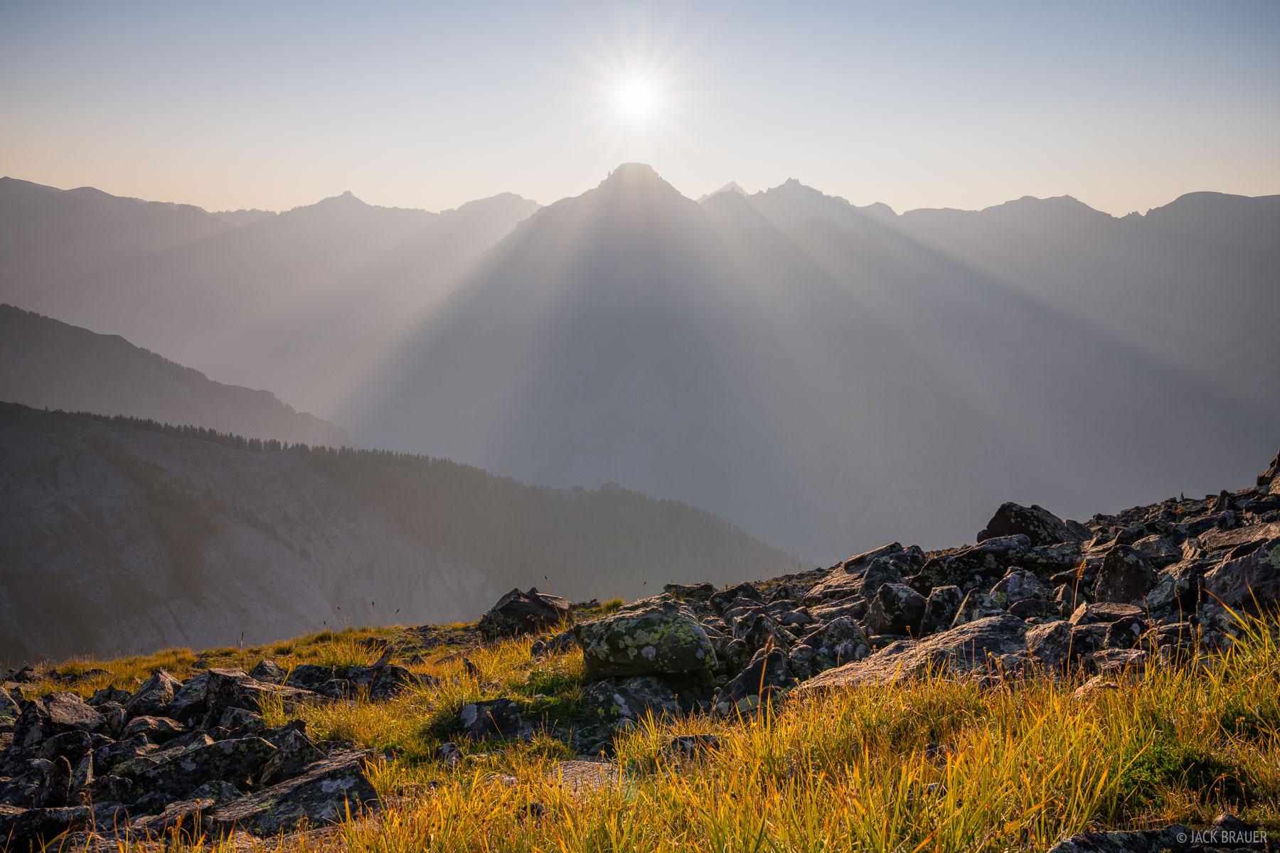 Setting sun over Potosi Peak on a hazy August evening.