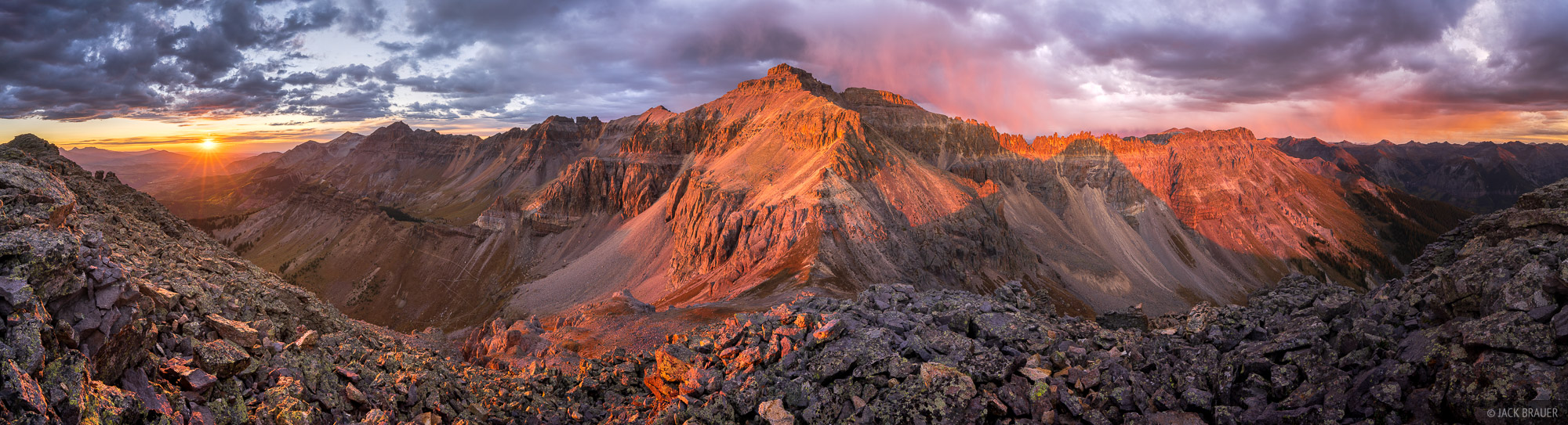 A mind-bending, nearly 360º panoramic view of brilliant sunset light on Mount Emma (13,581 ft.) and the Sneffels Range, as seen...