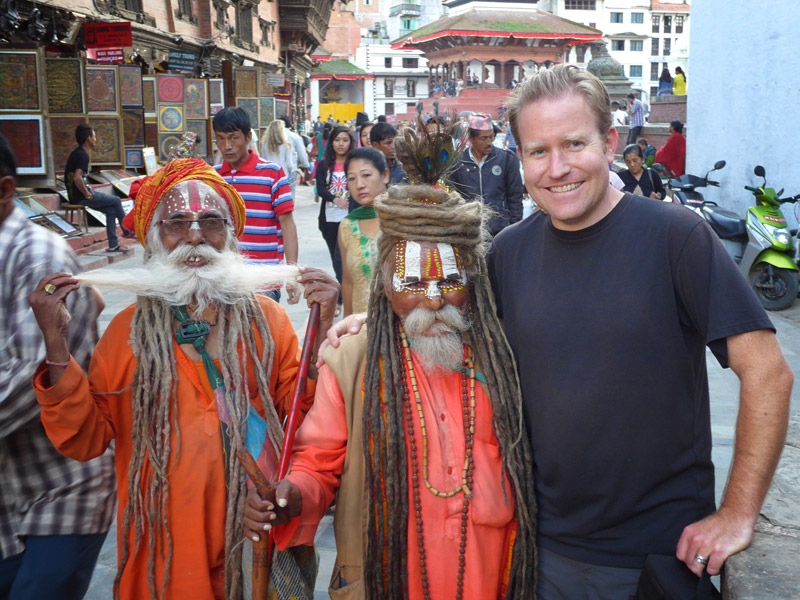Guess which one is me? With some friendly sadhus in Kathmandu.